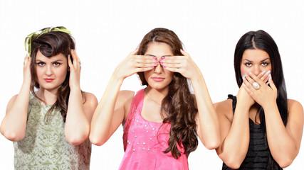 See no evil, hear no evil, speak no evil - three wise girls