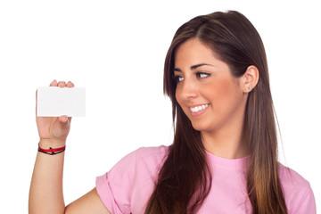 Atractive girl with a blank card