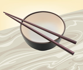 Cup and chopsticks for the noodles
