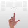 Hand pushing wireless on White background
