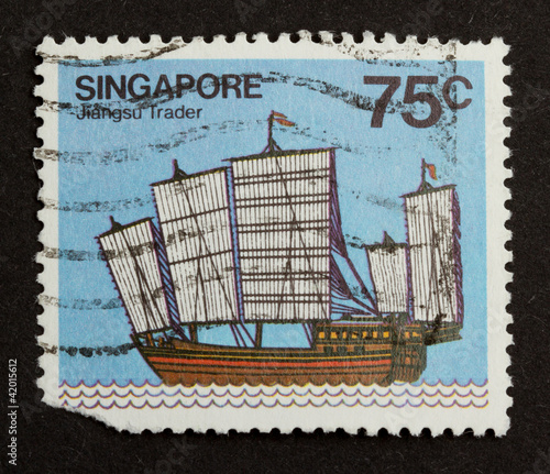 SINGAPORE - CIRCA 1980: Stamp printed in Singapore