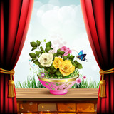 Flowerpot with roses and red curtain