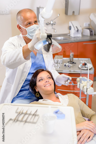 Woman patient at dentist surgery