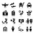 Airport icons set Elegant series