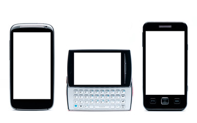 Set of Mobile phones on a white background