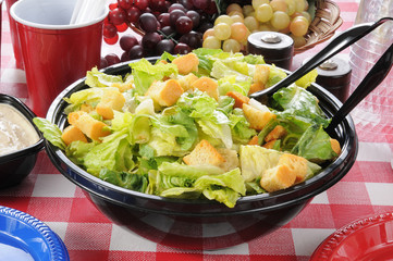 Garden salad on a picnic table