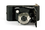 Antique fold away camera on white
