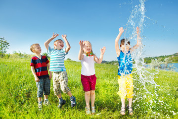 Kids enjoying water splashes