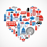 Fototapety London love - heart with many vector icons