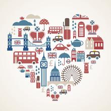 Londyn miłość - serce z wielu ikon wektorowych