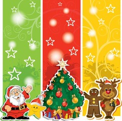 Santa Claus banner with friends and shaft