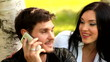 portrait young beautiful happy couple man woman talking phone
