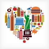 Fototapety New York love - heart shape with many vector icons