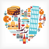 Fototapety Italy love - heart shape with vector icons