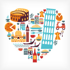 Italy love - heart shape with vector icons