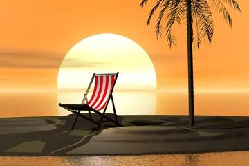 chaise longue au soleil couchant