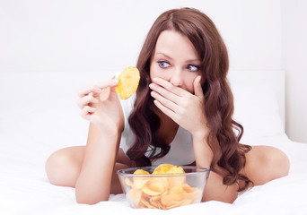 woman with chips