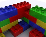 Plastic toy blocks on white background (render)