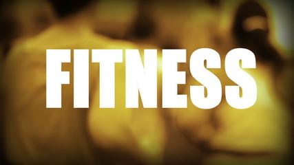 Schriftzug Fitness - Läufer im Hintergrund