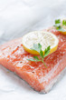 Raw loin of salmon with lemon