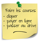 post-it ; faire les courses par internet