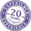 Stamp with the text 20 Years Experience written inside