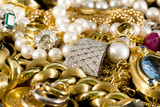Jewelry, gold, necklaces, rings, bracelets, watch, wealth poster