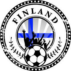 Stamp with football fans and name Finland, vector illustration