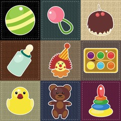 scrapbook objects on different textures patchwork