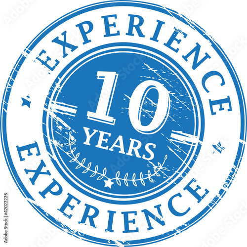 Stamp with the text 10 Years Experience written inside