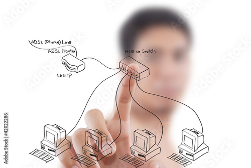 Businessman pushing LAN diagram on the whiteboard.