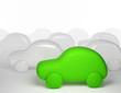 Green cartoon car - eco transport