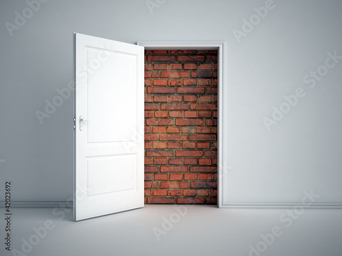Brick wall blocking the doorway