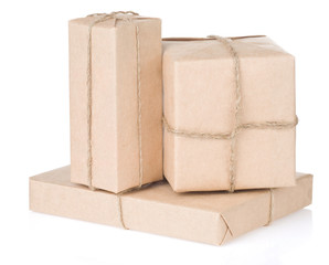 parcel wrapped tied with rope on white