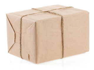 parcel wrapped tied with rope isolated on white