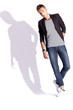 young fashion man on white background