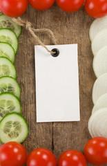 healthy vegetable food and price tag on wood