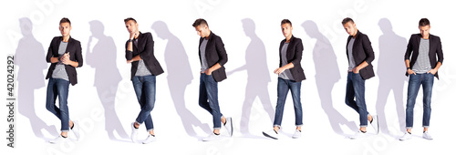 six poses of a fashion male model