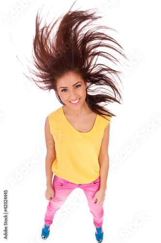 casual woman with beautiful fluttering hair