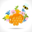 honeycomb with  honey, flowers and  bees