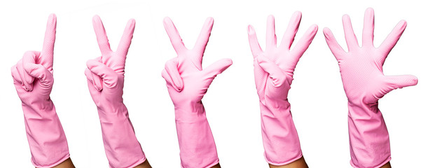 pink gloves gesturing numbers over white background