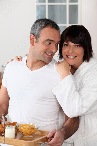 Couple enjoying weekend morning
