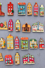 model houses magnets on display in Gdansk, Poland