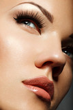 Portrait of  young woman with long eyelashes. High quality image