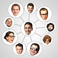 people faces, connection and organization