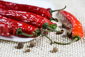 Red hot chili peppers and black pepper