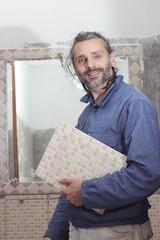 tile worker posing