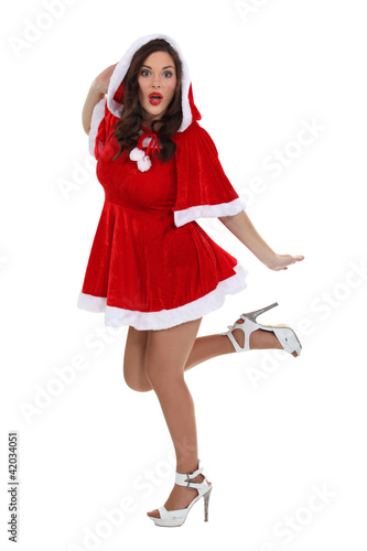 Sexy woman dressed as Mrs. Claus