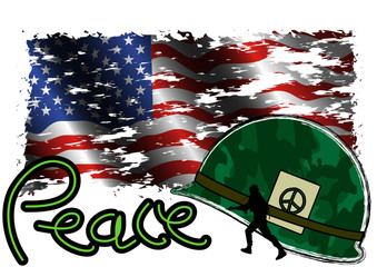Peace symbol Helmet and USA Flag Grunge