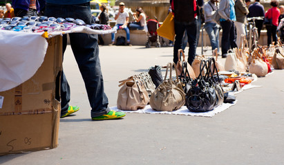 Counterfeit italian bags in the street